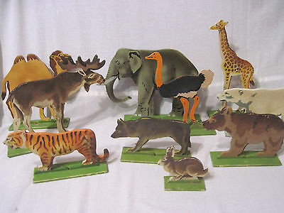Russian Vintage Set Of Animals, Toys, Large, Wooden, USSR, 50's