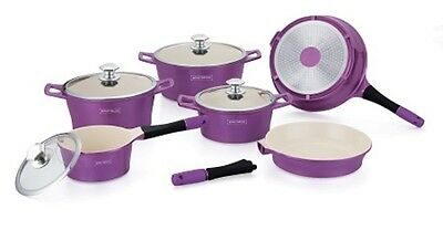 Royalty Line 14Pc Ceramic Coating Non-Stick Cookware Set In Purple - Rl-Es1014C