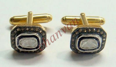 Vintage Look !!0.77 Ct Rose Cut Polky Diamond Sterling Silver Cufflinks @Jewelry