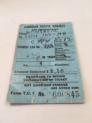 1944 Canadian Pacific Railway Ticket WWII