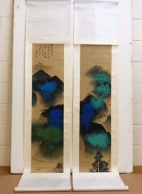 After Zhang Daqain Chinese Scroll Paintings. Stunning Mountains on White Silk