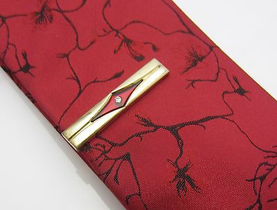 Vintage Mens Tie Clip Bar Dark Red Inlay Clear Rhinestone Gold Tone Metal 1970s