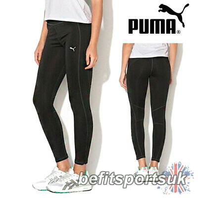 Puma Womens Ladies All Black Running Fitness Gym Tights Leggings 6 8 10 12
