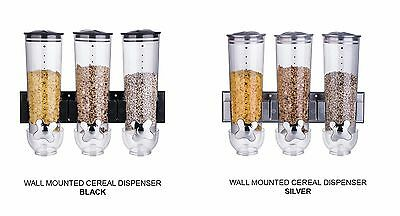 Wall Mounted Triple Cereal Dispenser Dry Food Storage Container Black Silver New