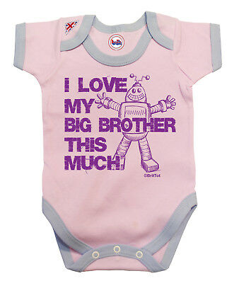 BritTot Baby Grow | I Love My Big BROTHER This Much | Girls Vest Baby Shower
