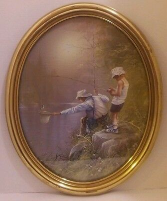 RARE Vintage Home Interior Picture Father Son Man Boy Fishing Oval HARD TO FIND
