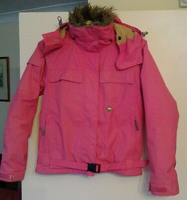Womens Insulated Breathable Waterproof Ski Jacket Pink Small Coloheat Trespass