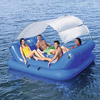Inflatable Floating Island Lounger Shade Canopy Tent Swimming Pool Sea Lounge
