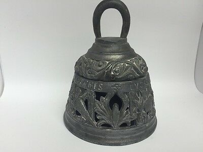 antique pewter bell shaped inkwell inscribed mathews johannes lucas religious