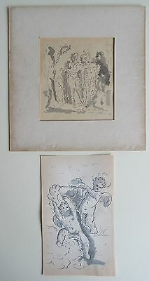 A Pair of Old  Master Drawings Pen, Ink & Wash Eric Hebborn