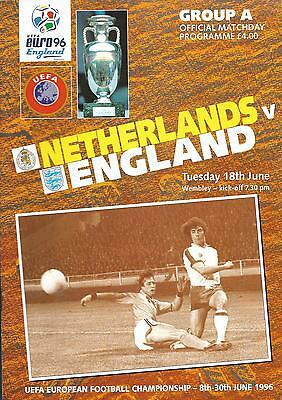 Euro96 Group 'A' Netherlands v England at Wembley Stadium football programme