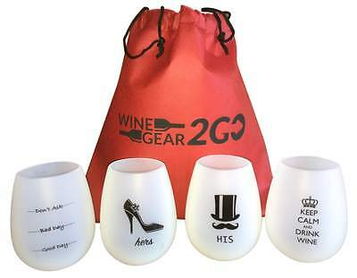 4 Wine Glasses Unbreakable W/Bag-Great Gift Food Grade Silicone Funny Durable