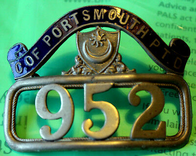NUMBERED (952) CAP BADGEfrom PORTSMOUTH CORPORATION uniform