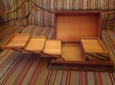 Antique wooden cigarette/roll up storage box