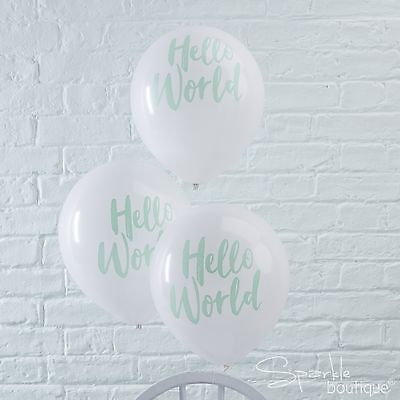 HELLO WORLD BABY SHOWER BALLOONS x10 - Mint Unisex Party Decorations - Helium