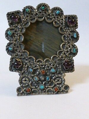 Mexican Turquoise, Amethyst, and Coral Sterling Small Frame
