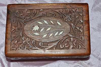 vintage wooden box with flower and leaf inlay