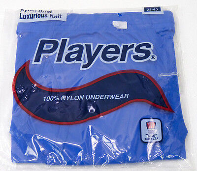 NOS Vintage Players 100% Nylon Briefs Underwear Mens L 38-40 BLUE 80s 90s NOS