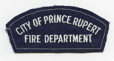 Prince Rupert Fire Department, BC, Canada RARE Vintage Shoulder Patch Proof