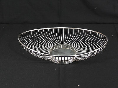 PM Italy Silver Plate Modern Bread Basket Fruit Dish Wire Basket
