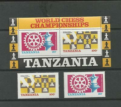 TANZANIA TOPICAL SC 304, 305 AND S/SHEET 305a ROTARY INTERNATIONAL / CHESS