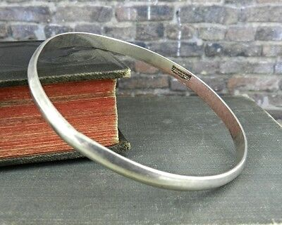 Signed Mexico Plain Sterling Silver Bangle Bracelet