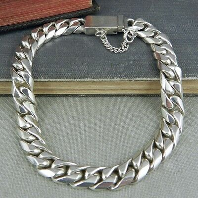Taxco Mexico Sterling Silver Curb Link Bracelet 9.25""