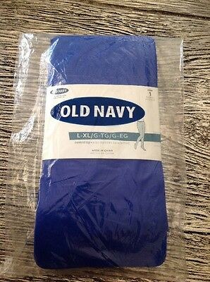 Old Navy L-XL 1 Pair Blue Tights New Factory Sealed Package