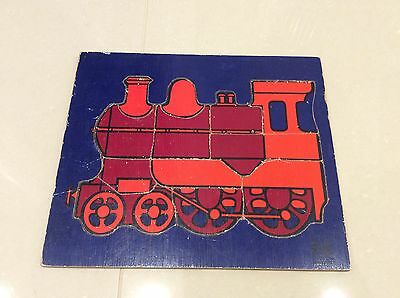 60's Vintage Galt Toys Wooden Tray Jigsaw Puzzle Red Steam Train 12 Pieces