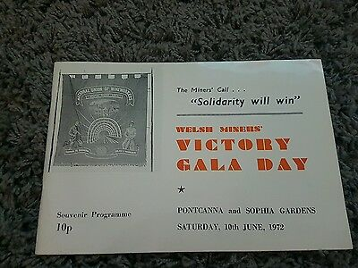 welsh miners victory gala day programme 1972 great pit mining  memorabilia