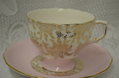 Royal Vale Gold Chintz & Pink Teacup and Saucer