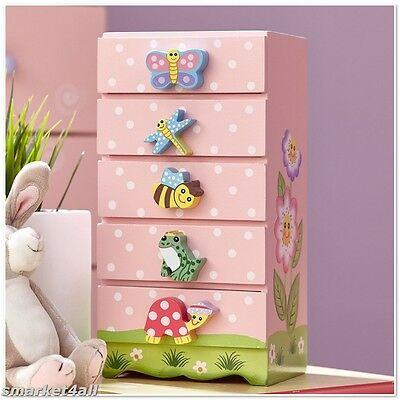 Wooden Jewellery Chest Childrens Storage Cabinet Drawers Kids Bedroom Furniture