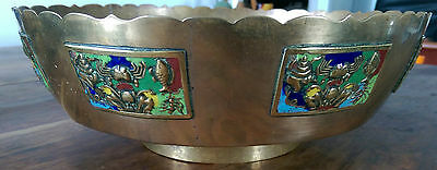 Vintage Chinese brass bowl with enamel panels