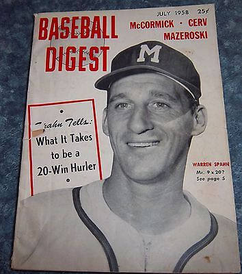 Baseball Digest July 1958  Wharren Spahn