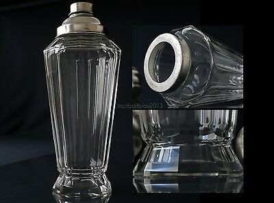 Cocktail Shaker Antique Cut Crystal Faceted / Art Deco Bar Ware