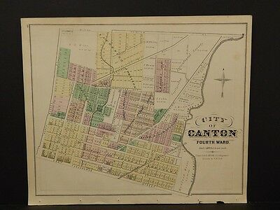 Ohio, Stark County Map, City of Canton, 1875, Three Maps!  J3#62