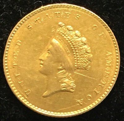 1854 $1 Type 2 Gold Indian Princess Head
