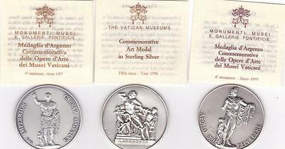 The Vatican Museum 1995 - 1997 Sterling Silver Medal Set Of 3