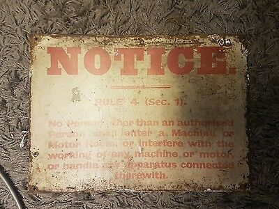 old metal mining pit sign notice rule 4 sec1 well worn great memorabilia