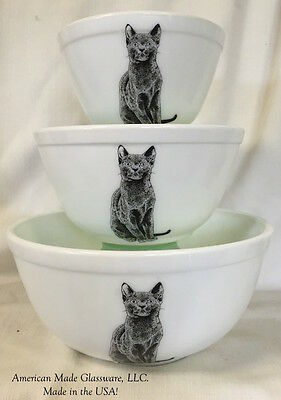 Set 3 Milk Glass Stackable Mixing Nesting Bowls w/ Black Cats - Rosso Exclusive