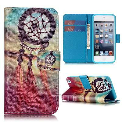 Dreamcatcher Flip Wallet Credit Card Case Cover For iPod 5th Generation - Pink