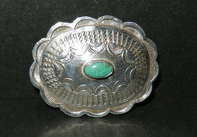 925? Sterling? Silver Southwestern Turquoise Pinback Pin Brooch