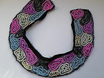 Vintage black lace and colourful glass beadwork ladies dress collar