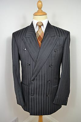 VINTAGE 1980's UOMO DESIDERI GREY WOOL DOUBLE BREASTED 2 PIECE SUIT MED 40 REG