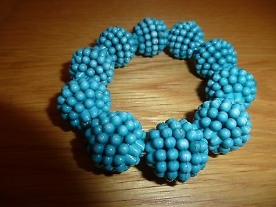Vintage 1980's  Turquoise Coloured Large Beaded Balls On A Stretch Bracelet