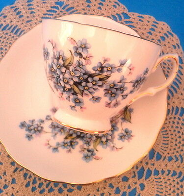 Pretty Royal Vale Forget Me Not Teacup and Saucer Blue Forget Me Nots Tea Cup