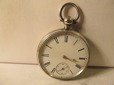 1881 Waltham fob pocket watch 8size solid silver very good condition working