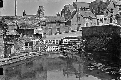 ANCIENT COTTAGE & POND LYNMOUTH & DEVON 1930/40s 1/6th PLATE GLASS NEGATIVE 133
