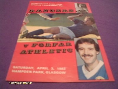 Rangers V Forfar Athletic Scottish Cup Semi Final Programme 1982