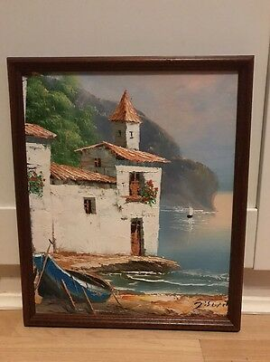 Lovely Signed Vintage Oil Painting On Board Of Coastal Scene In Wood Frame